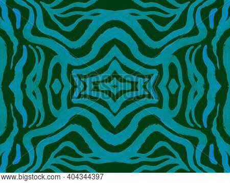 Seamless Ethnic Pattern. Fashion Animal Leather. Camouflage African Wallpaper. Blue Tiger Skin. Wave