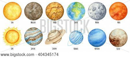 Watercolor Planets Of The Solar System. Outer Space Planet Mercury Venus Earth Mars Jupiter Saturn U