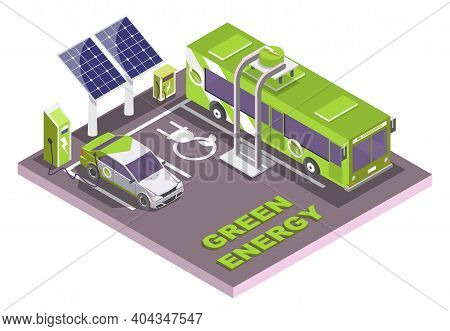 Electric Vehicle Charging Station, Electromobile And City Public Bus, Vector Flat Isometric Illustra