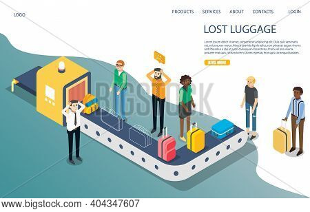 Lost Baggage Vector Website Landing Page Template. Isometric Travelers Waiting For Lost Luggage Near