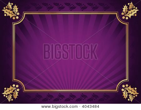 Purple And Gold Elegant Holly Trimmed Background