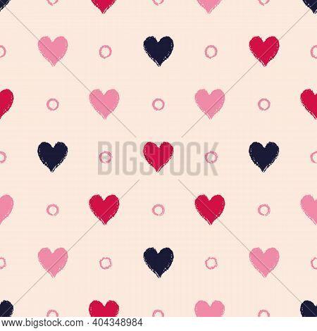 Vector Black Red Hearts Dots Ecru Seamless Pattern