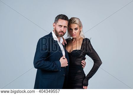 Sexy Couple In Love. Man Embrace Woman. Formal Couple. Confident Businessman With Lady. Business Par