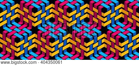 Stripy Mesh Weaving Cubes Seamless Pattern, 3D Abstract Vector Background For Wallpapers, Op Art Dim