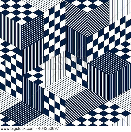 Geometric 3D Seamless Pattern With Cubes, Rhombus And Triangles Boxes Blocks Vector Background, Arch