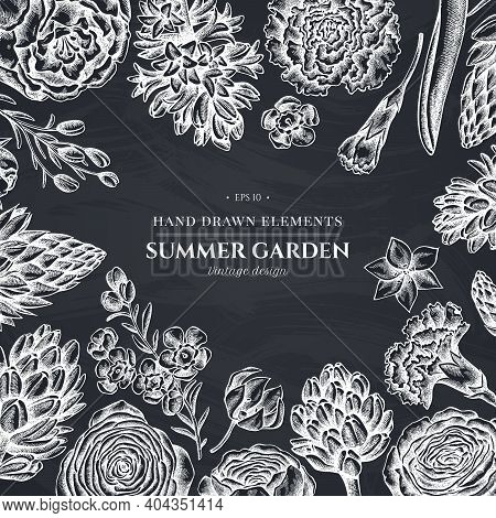 Floral Design With Chalk Peony, Carnation, Ranunculus, Wax Flower, Ornithogalum, Hyacinth Stock Illu