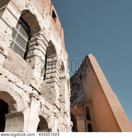 Rome, Italy Colosseum Close-up Of Architectural Structures