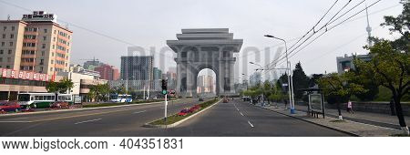 Pyongyang, North Korea - May 1, 2019: Arch Of Triumph. A Monument Built In Pyongyang In Honor Of The