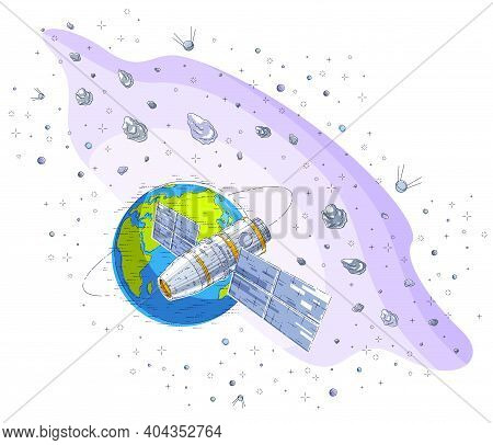 Space Station Flying Orbital Flight Around Earth, Spacecraft Spaceship Iss With Solar Panels, Artifi