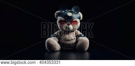 Toy Bear With Glasses In The Form Of A Heart In A Leather Belt Accessory For Bdsm Games Gift For Val
