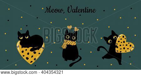 Black Cat And Spotted Heart. Valentine's Card In Trending Colors: Green Tide And Fortune Gold. Patte