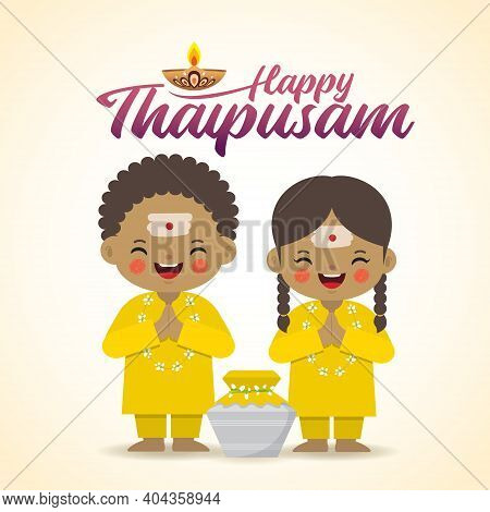 Thaipusam Or Thaipoosam - Festival Celebrated By The Tamil Community. Cartoon Indian Kid & Paal Kuda