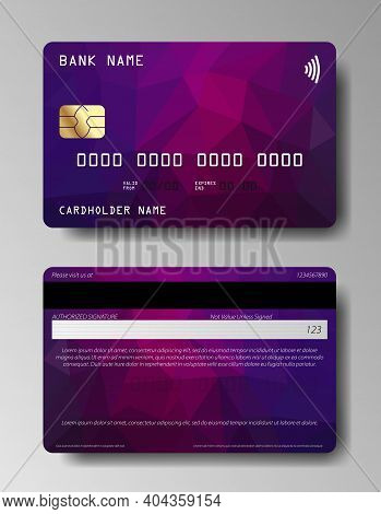Credit Cards Vector Set With Colorful Abstract Trendy Design. Set Of Debit Card, Credit Card, Atm Ca
