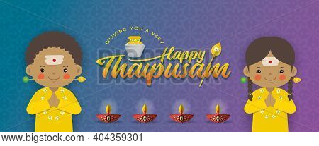 Thaipusam Or Thaipoosam Banner Design. A Festival Celebrated By The Tamil Community. Cartoon Tamil K