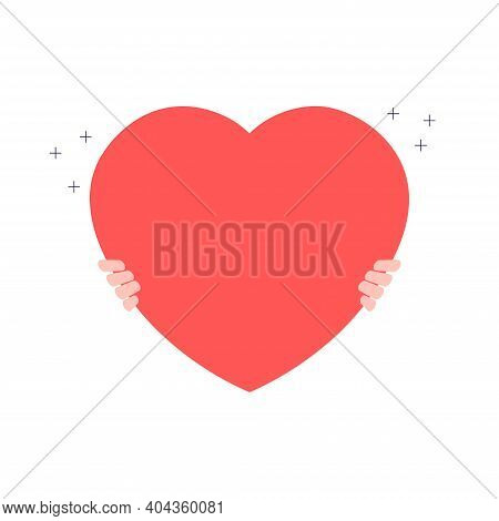 Hands Holding Red Heart. Valentine Day, Romantic Holiday Symbol. The Concept Of Charity, Philanthrop