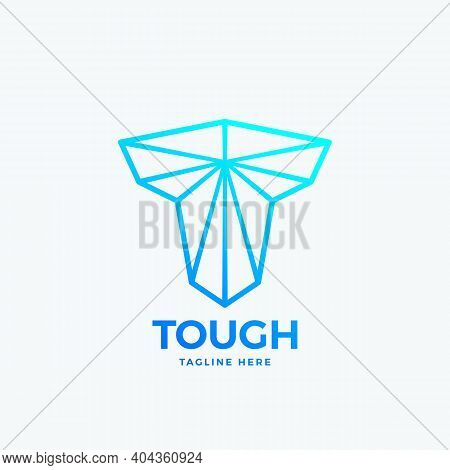 Tough Letter T Abstract Vector Emblem, Sign Or Logo Template. Line Art Strength Symbol. Mighty Shape