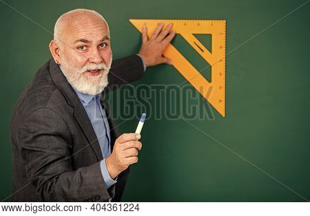 How Succeed In Math. Drawing Tips. Become Lifelong Learners. Man Bearded Tutor Chalkboard Background