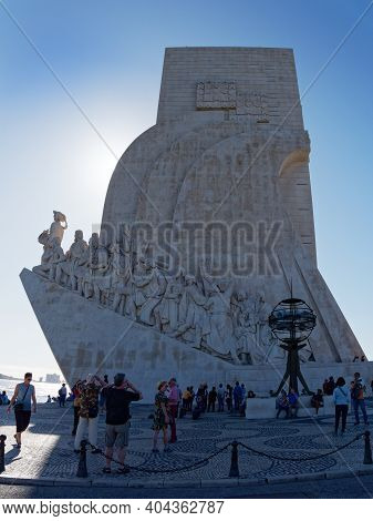 Lisbon, Portugal - October 01, 2019: Tourists Visit The Belem Monument To The Discoveries  In Belem