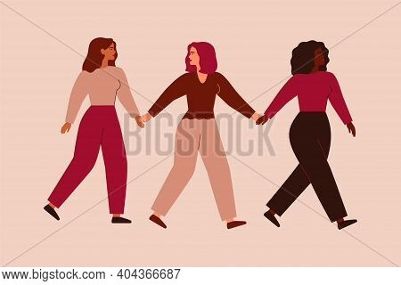 Three Strong Entrepreneurial Females Walk Together And Hold Hands. Black Woman Supports And Leads He