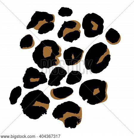Vector Illustration Of Leopard Print Seamless Pattern. Wild Texture For Design, Website, Background,