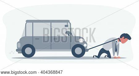 Desperate Businessman With Car Debt Burden - Business Concept. Vector, Illustration, Flat