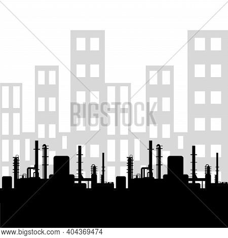 Black Oil Factory Silhouette And Industrial City View. Petroleum Industry. Vector Template For Web,