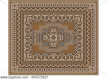 Luxurious Oriental Gentle Carpet In Beige Tones With Brown And Gray Patterns On A White Background