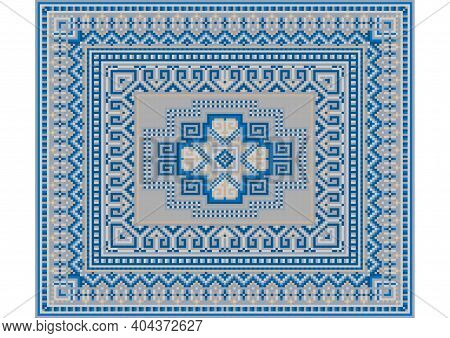 Luxurious Oriental Gentle Carpet In Blue Tones With Beige And Gray Patterns On A White Background