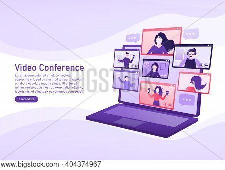 Flat Illustration. Video Conference. Video Call Between Friends, Chatting Online By Mobile App. Stay