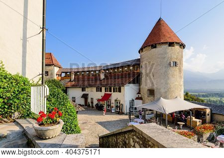 Bled, Slovenia - September 14, 2016: Sightseeing Of Slovenia. Bled Castle Is A Popular Tourist Attra