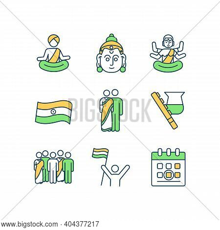 Indian Holiday Rgb Color Icons Set. India Traditional Festival. Hinduism Religious Fest. Buddhism, H