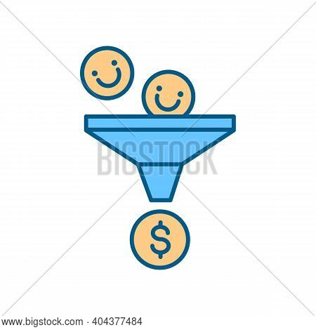 Marketing Funnel Rgb Color Icon. Business Investment Strategy. Leads, Likes Conversion Into Sales. F