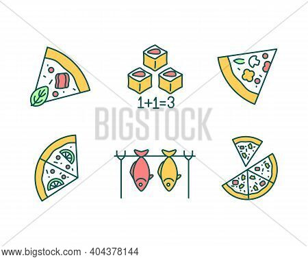 Pizzeria Menu Rgb Color Icons Set. Pepperoni Pizza Slices. Special Offer For Fast Food. Italian Cuis