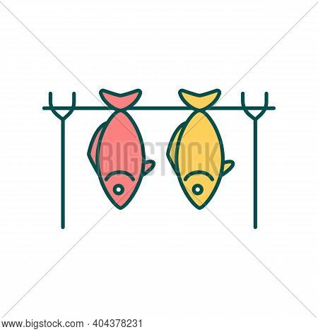 Hot Smoked Fish Rgb Color Icon. Restaurant Menu. Cafe Culinary. Cold Smoked Tuna. Barbeque For Seafo