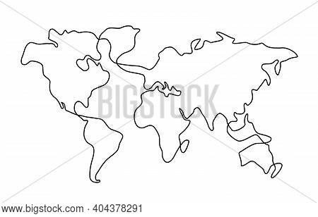 Hand Drawn Scribble Line Art World Map Isolated On Whitebackground.