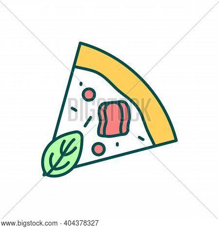 Pizza Slice Rgb Color Icon. Fast Food Piece. Pizzeria Menu Order. Mozzarella, Vegetable, Meat Dish.