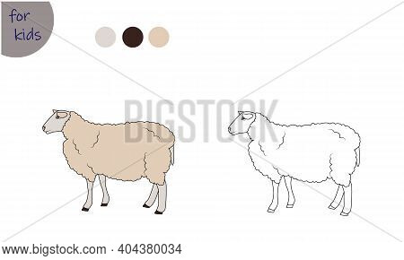 Coloring Book For Kids Farm Animal, Sheep, Coloring By Colors.