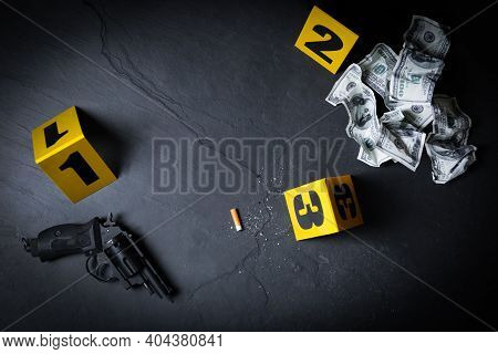 Flat Lay Composition With Evidences And Crime Scene Markers On Black Background