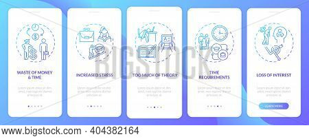 Employee Training Disadvantages Onboarding Mobile App Page Screen With Concepts. Stress, Time Requir