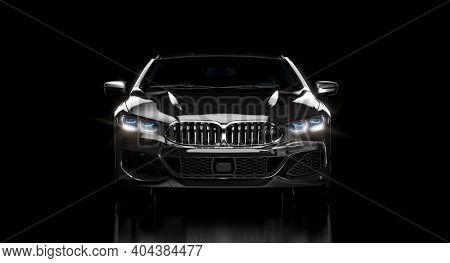 luxury black car on dark background. 3d render. nobody around