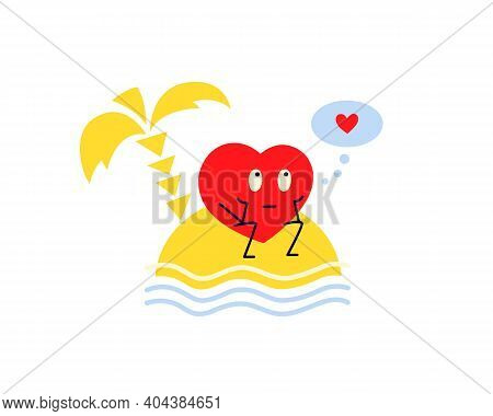 I Need Love. I Miss You. Red Lonely Heart Seating On An Island Near The Sea. Sweet Dreams. Vector Il