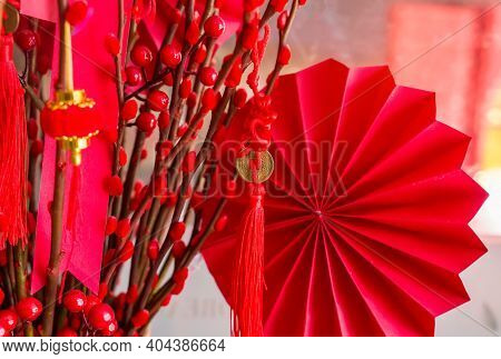 Chinese paper fans in pastel colors for new year,word on coin mean Kangxi Dynasty