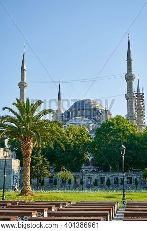 Bright Summer Day The Blue Mosque View At Sultanahmet Square In Istanbul City.