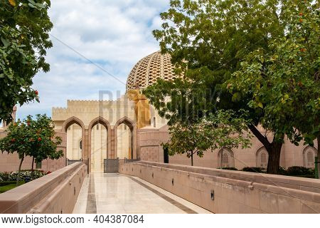 Muscat, Oman, 28/01/2020. Entrance To Sultan Qaboos Grand Mosque In Muscat, Oman. On The Walls Quran