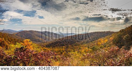 View Of Shenandoah National Park And The Blue Ridge Mountains From The Park's Famous Skyline Drive T