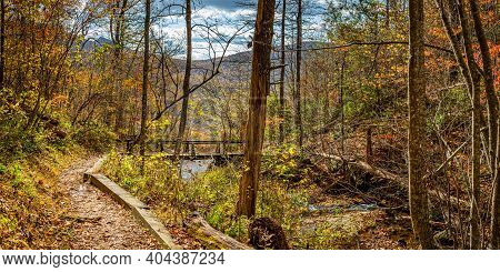 An Autumn Hike Along The Fallingwater Creek Trail Crosses Over Fallingwater Creek On Flat Top Mounta