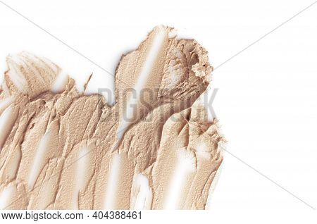 Texture Of Liquid Foundation For Face. Make-up, Decorative Cosmetics, Beige Foundation Isolated On W