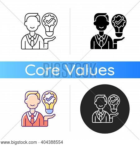 Ownership Focus Icon. Employee Commitment. Creative Work. Job Productivity, Effectiveness. Corporate