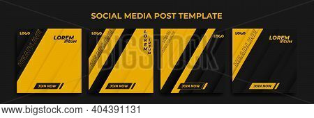 Social Media Story Template. Template Post For Ads. Design With Modern Yellow And Black