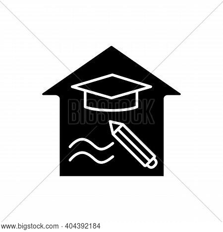 Education Freedom Glyph Icon. Learning The Right Subjects. Home Education Concept. Distant Remote Te